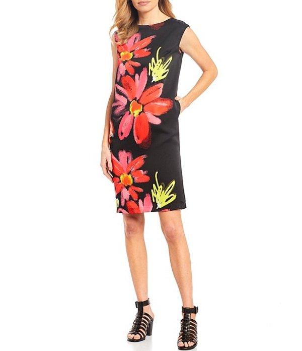 アイシーコレクション レディース ワンピース トップス Big Flower Print Cap Sleeve Shift Dress Black