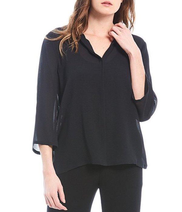 エイリーンフィッシャー レディース シャツ トップス Textured Silk Mesh Mandarin Collar 3/4 Sleeve Shirt Black