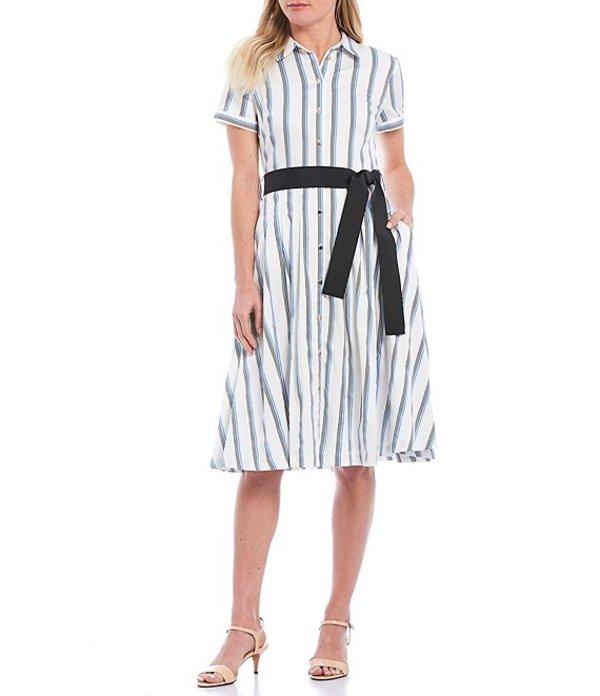 カール ラガーフェルド レディース ワンピース トップス Karl Lagerfeld Paris Stripe Tie Waist Stretch Sateen Shirt Midi Dress Soft White/Provence Blue