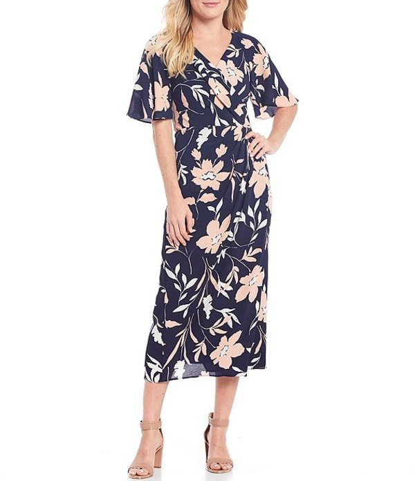 マギーロンドン レディース ワンピース トップス Floral Printed Crepe Raglan Flutter Sleeve V-Neck Faux Wrap Midi Dress Navy/Blush