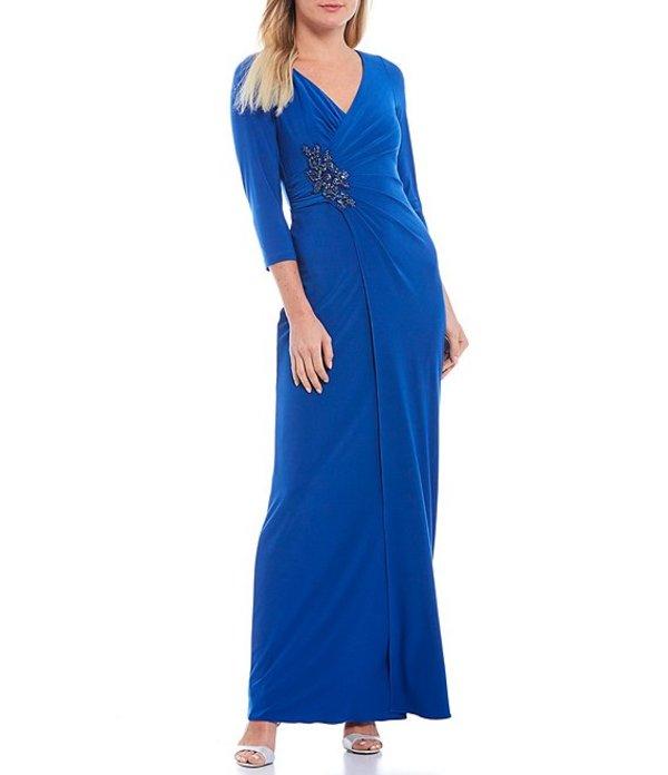 アドリアナ パペル レディース ワンピース トップス V-Neck Jersey Embellished Gown Blue Sapphire