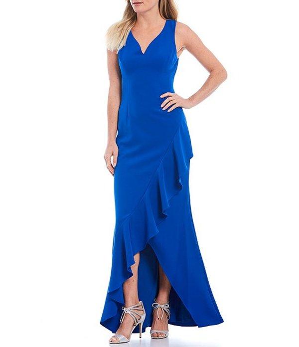 アドリアナ パペル レディース ワンピース トップス V-Neck Asymmetric Ruffle Hi-Low Sleeveless Gown Blue Sapphire