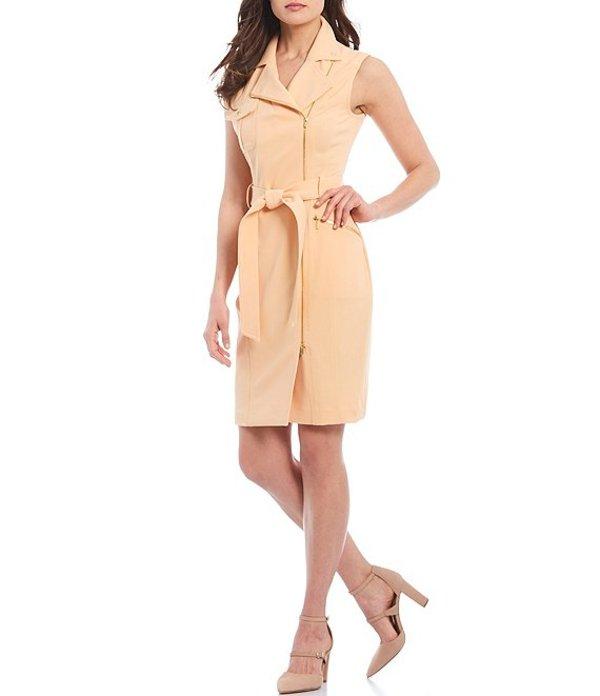カルバンクライン レディース ワンピース トップス Collared Zip Front Sleeveless Crepe Dress Papaya
