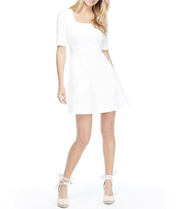 ギャルミーツグラム レディース ワンピース トップス Kylie Square Neck Box Weave Crepe Mini Fit & Flare Dress Soft White