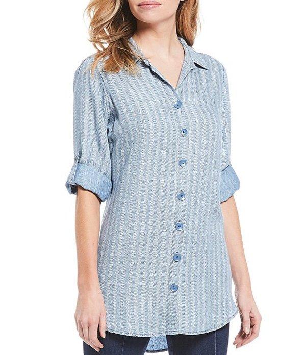 イントロ レディース シャツ トップス Stripe Print Indigo Lyocell Long Roll-Tab Sleeve Button Down Tunic Sun Wash