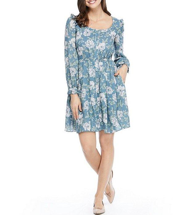 ギャルミーツグラム レディース ワンピース トップス Madeline Square Neck Button Down Floral Print Dress Blue/Purple