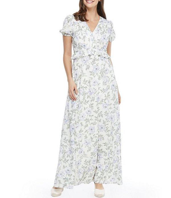 ギャルミーツグラム レディース ワンピース トップス Torey V-Neck Floral Print Satin Seersucker Maxi Dress Cream Multi