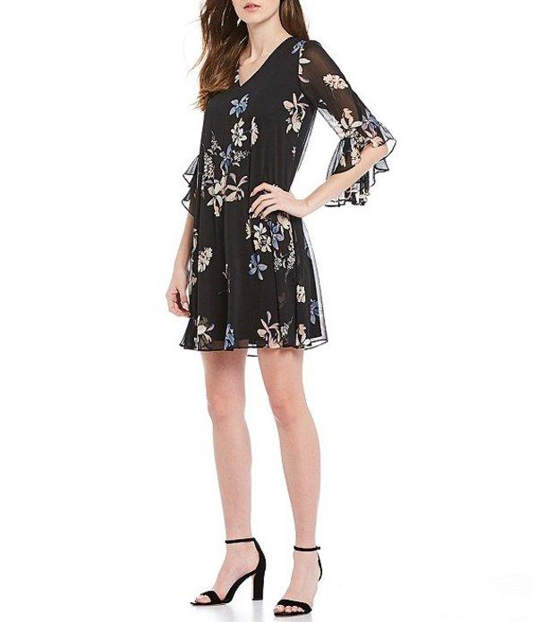 カルバンクライン レディース ワンピース トップス V-Neck 3/4 Ruffle Sleeve Floral Chiffon Dress Black/Blush