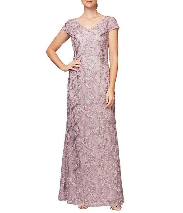 アレックスイブニングス レディース ワンピース トップス Soutache Lace V-Neck Cap Sleeve Gown Mauve