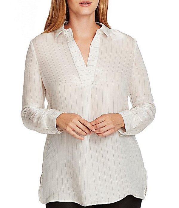 ヴィンスカムート レディース シャツ トップス Long Sleeve Collared Iridescent Striped Tunic Pearl Ivory