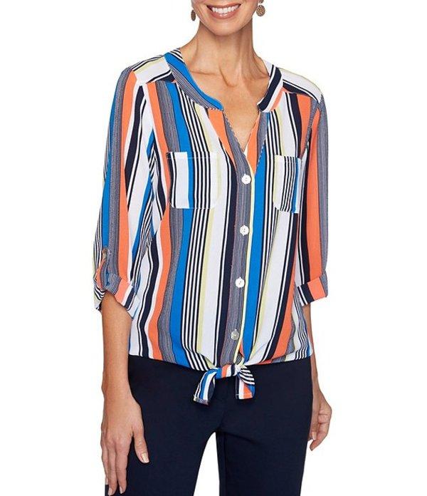 ルビーアールディー レディース シャツ トップス Stripe Print Stretch Crepe Roll-Tab Sleeve Button Tie Front Top Royal Multi