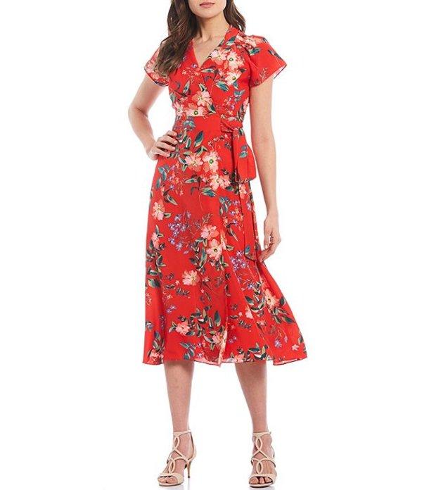 ヴィンスカムート レディース ワンピース トップス Short Sleeve Floral Print Wrap Midi Dress Red Multicolor