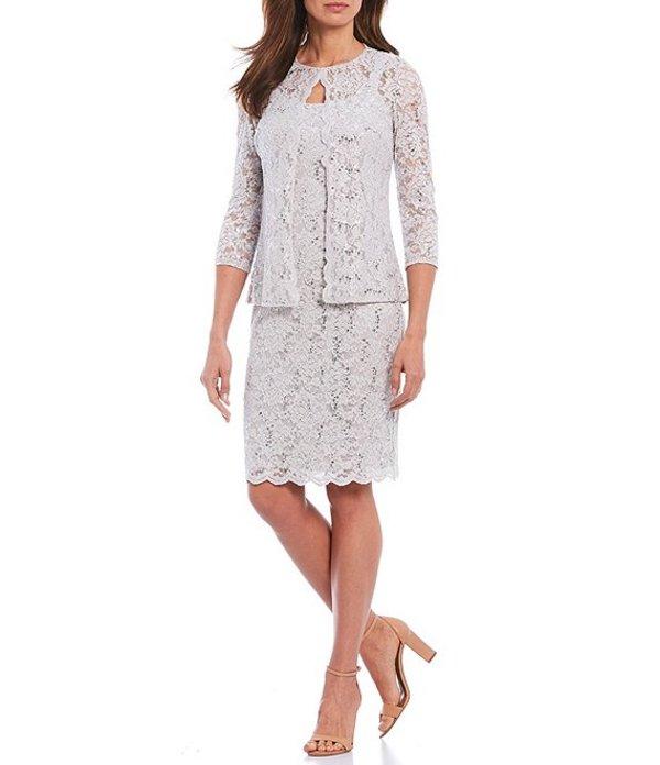 マリナ レディース ワンピース トップス Scalloped Glitter Lace 2 Piece Jacket Dress Silver