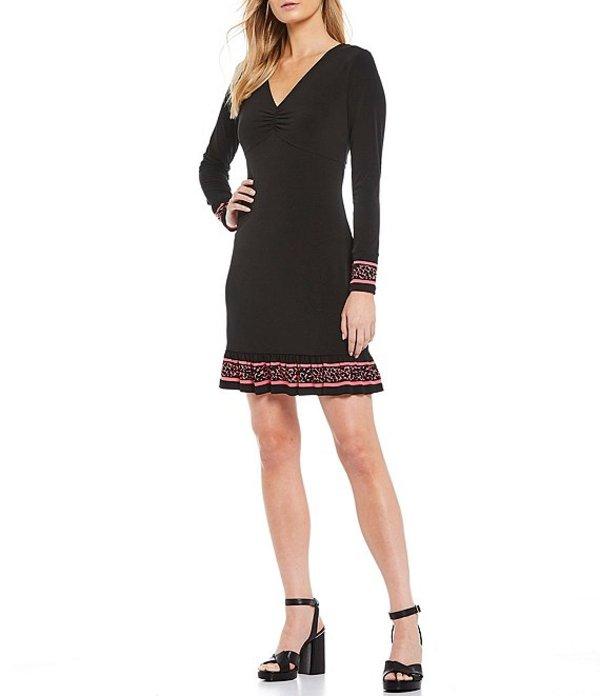 マイケルコース レディース ワンピース トップス MICHAEL Michael Kors Border Print Luxe Matte Jersey Twist V-Neck Flounce Hem Dress Black