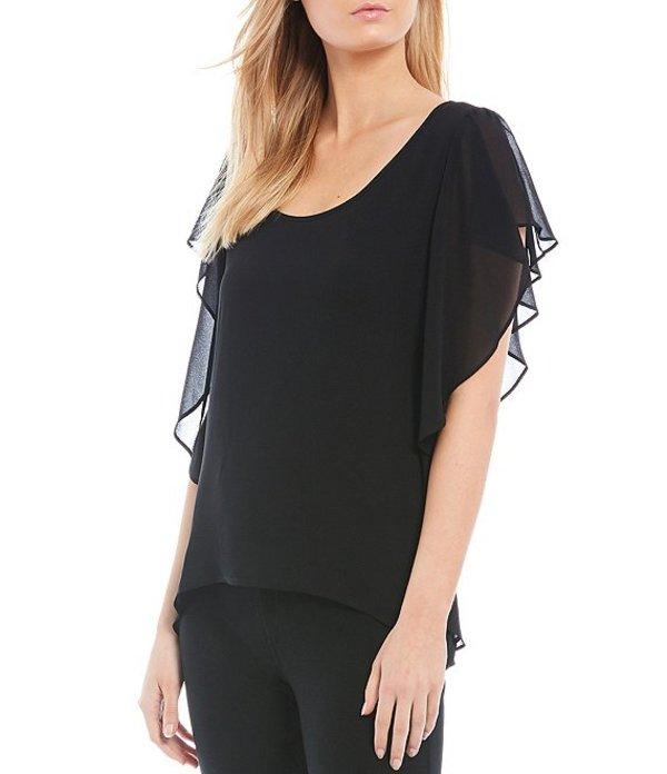 マイケルコース レディース シャツ トップス MICHAEL Michael Kors Solid Georgette Ruffled Short Sleeve Handkerchief Hem Top Black