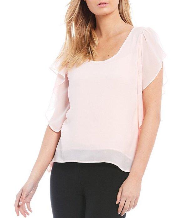 マイケルコース レディース シャツ トップス MICHAEL Michael Kors Solid Georgette Ruffled Short Sleeve Handkerchief Hem Top Pink Wash