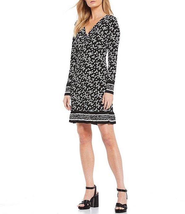 マイケルコース レディース ワンピース トップス MICHAEL Michael Kors Dancing Petals Border Print Luxe Matte Jersey Twist V-Neck Long Sleeve Dress Black