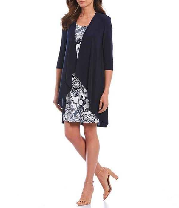 アールアンドエムリチャーズ レディース ワンピース トップス Printed Jersey Knit 2 Piece Jacket Dress Navy/White
