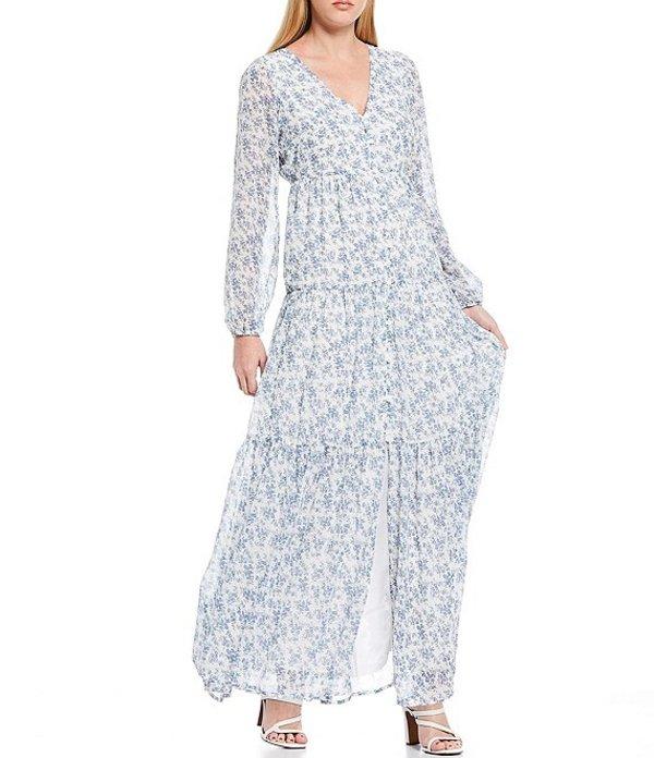 シュガーリップス レディース ワンピース トップス Ditsy Floral Print Long Sleeve V-Neck Button Front Maxi Dress White/Blue