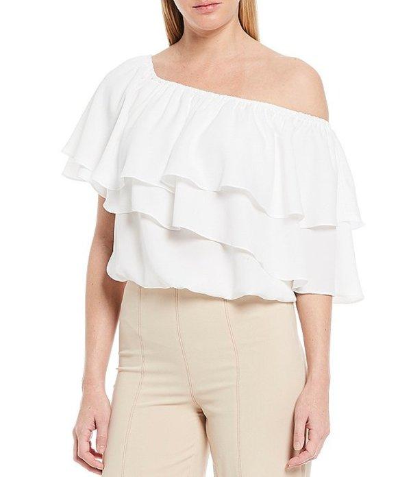 シュガーリップス レディース シャツ トップス Ruffle Off-The-Shoulder Short Sleeve Top White