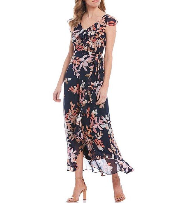 ロンドンタイムス レディース ワンピース トップス Petite Size Floral Print Chiffon Faux Wrap Flounce Hem Midi Dress Pink/Navy