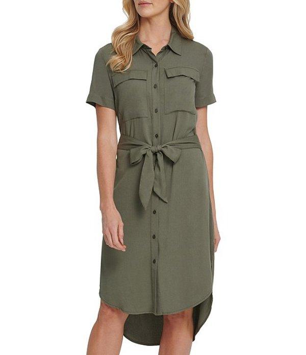 ダナキャラン レディース ワンピース トップス DKNY Jeans Short Sleeve Button Front Belted Hi-Low Hem Shirt Dress Army Green