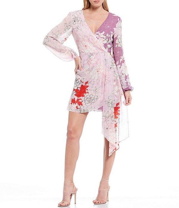 ベルバッジリーミシュカ レディース ワンピース トップス Renee Floral Print Georgette Long Sleeve Wrap Front Drape Detail Dress Lilac Multi