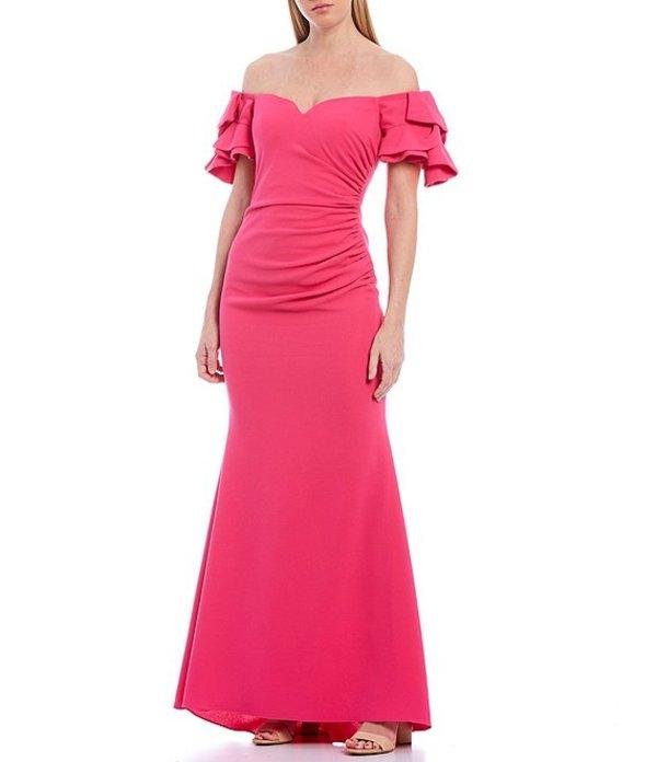 バッジェリーミシュカ レディース ワンピース トップス Origami Sleeve Ruched Sweetheart Pebble Crepe Gown Bubble Gum Pink