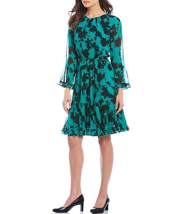 カルバンクライン レディース ワンピース トップス Shadow Floral Print Chiffon Ruffle Trim Long Sleeve Belted Dress Black/Jungle
