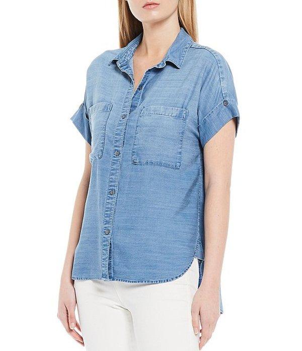 チェルシーアンドバイオレット レディース シャツ トップス Rolled Short Sleeve Button Front Chambray Shirt Oceanside