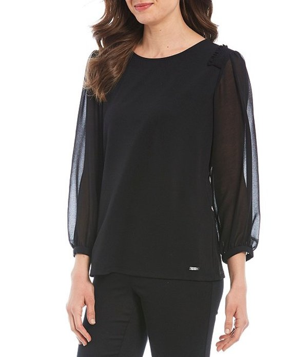 カルバンクライン レディース シャツ トップス Stretch Crepe Knit Smocked Shoulder Long Sheer Sleeve Top Black