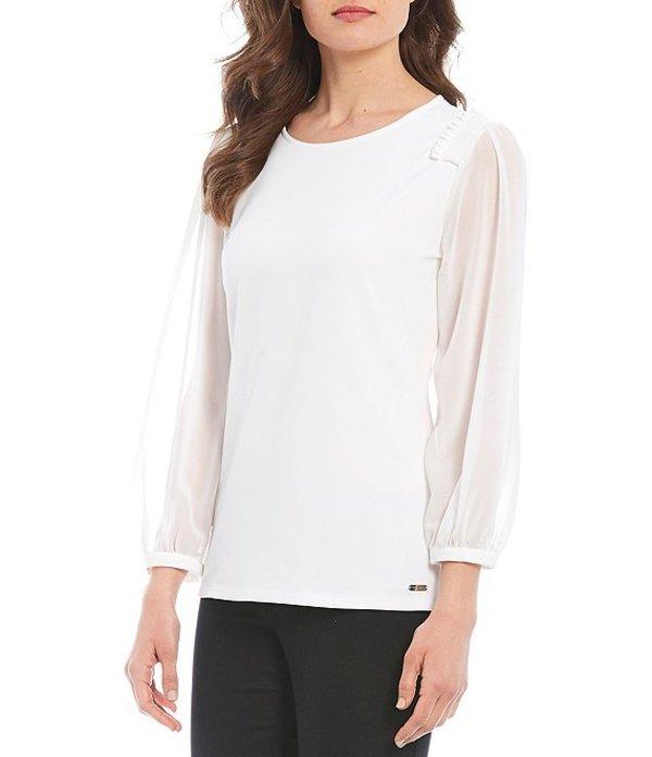 カルバンクライン レディース シャツ トップス Stretch Crepe Knit Smocked Shoulder Long Sheer Sleeve Top Soft White