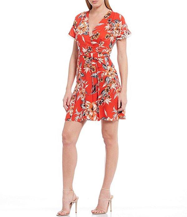 フレンチコネクション レディース ワンピース トップス Claribel Floral Print V-Neck A-Line Dress Poppy Red