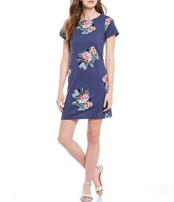 ジュールズ レディース ワンピース トップス Riviera Blue Floral Print Cotton Short Sleeve Shift Dress Blue Floral