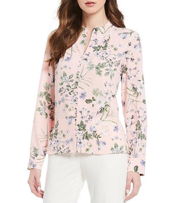 カルバンクライン レディース シャツ トップス Floral Print Crepe De Chine V-Neck Button Trim Long Sleeve Blouse Rose Multi