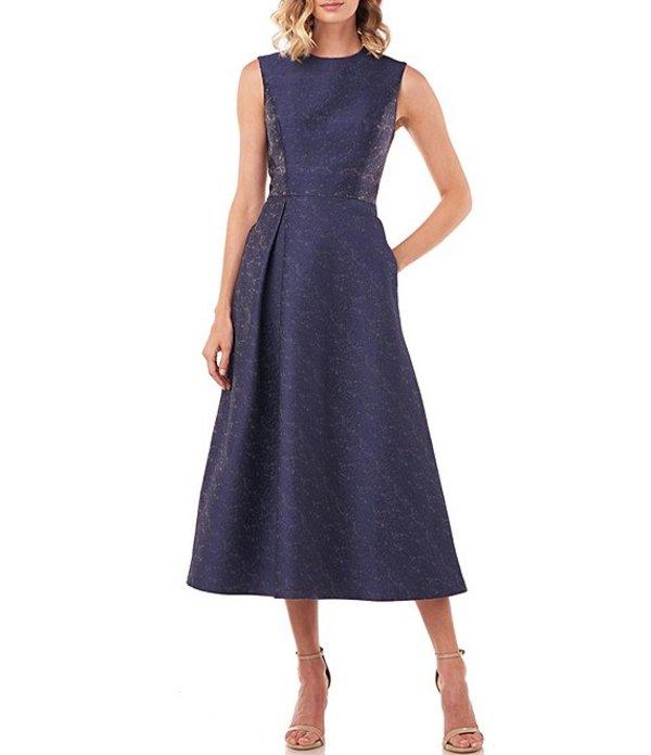 ケイ アンジャー レディース ワンピース トップス Belinda Textured Jacquard Jewel Neck Midi Dress Midnight