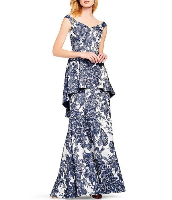アイダンマットックス レディース ワンピース トップス Off-the-Shoulder Sweetheart Neck Floral Peplum Gown Navy