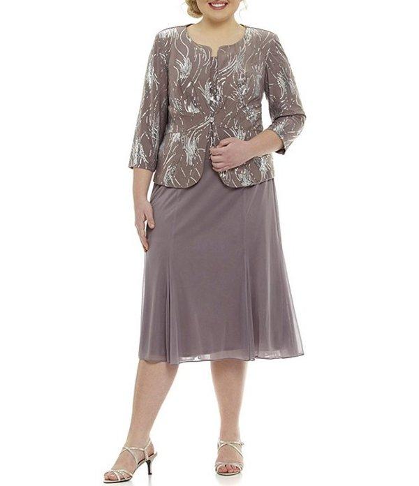 アレックスイブニングス レディース ワンピース トップス Plus Mock T-Length Sequin Jacket Dress Pewter Frost