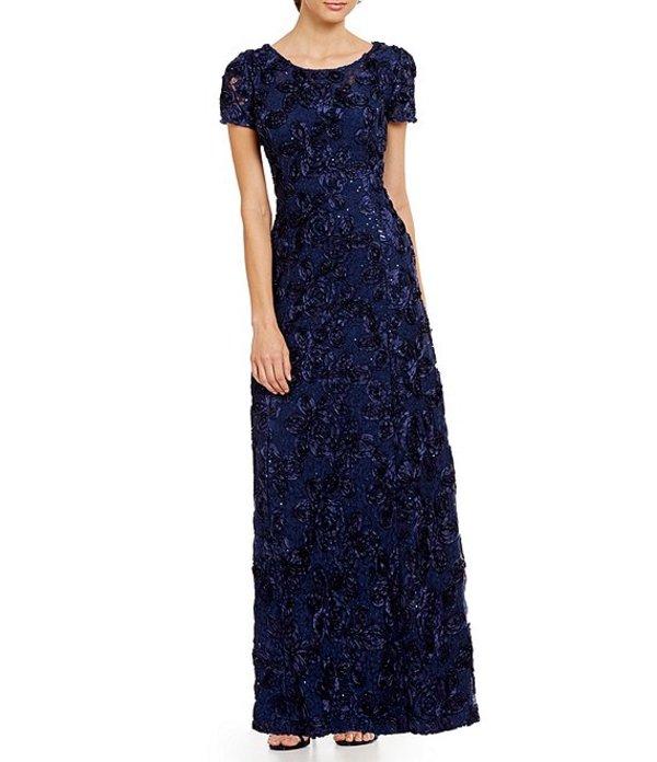 アレックスイブニングス レディース ワンピース トップス Petite Sequined-Lace Rosette-Rose Gown Navy