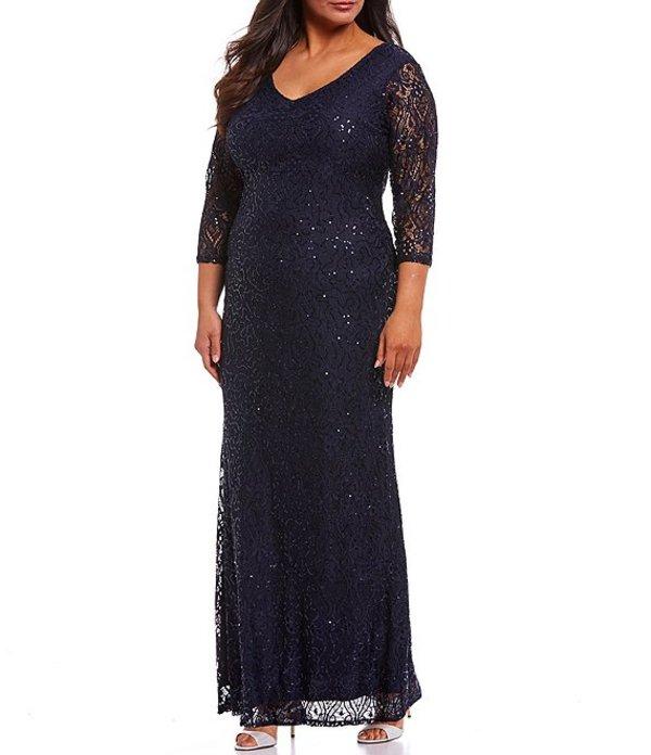 マリナ レディース ワンピース トップス Plus V-Neck Illusion Sleeve Lace Gown Navy