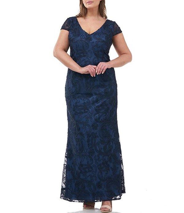 ジェイエスコレクションズ レディース ワンピース トップス Plus Size Soutache Embroidered Cap Sleeve Gown Navy