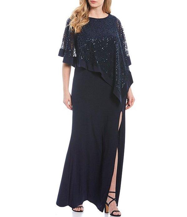 アールアンドエムリチャーズ レディース ワンピース トップス Plus Size Sequin Lace Poncho Overlay Gown Navy