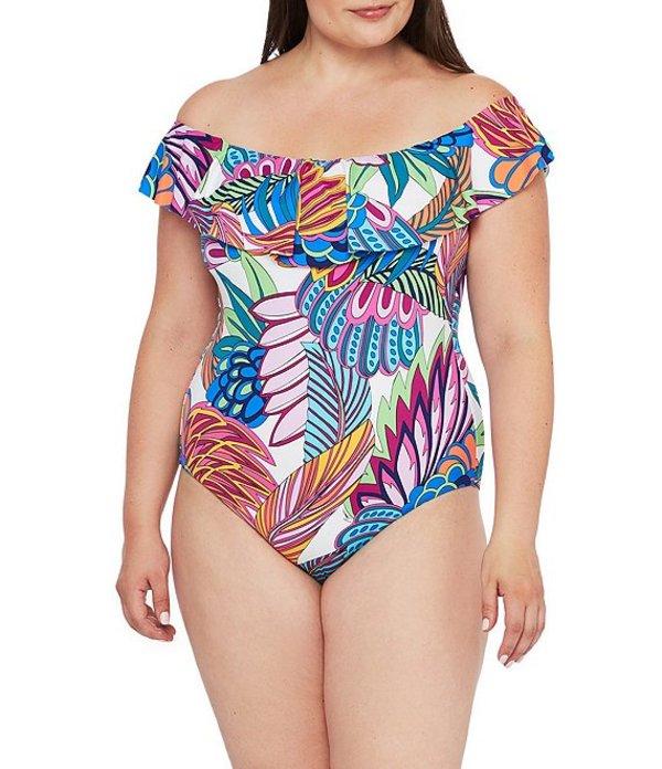 トリーナターク レディース ワンピース トップス Plus Size Paradise Plume Ruffle Off-The-Shoulder One Piece Swimsuit Multi