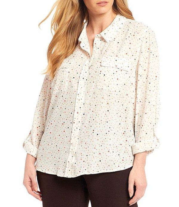 インベストメンツ レディース シャツ トップス Plus Size Olivia Long Roll-Tab Sleeve Button Front Dot Print Utility Blouse Dot