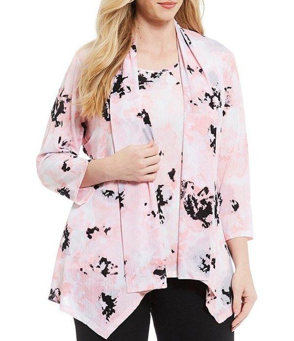 カスパール レディース ジャケット・ブルゾン アウター Plus Size Open Front Floral Printed Knit 3/4 Sleeve Cozy Cardigan Tutu Pink Multi