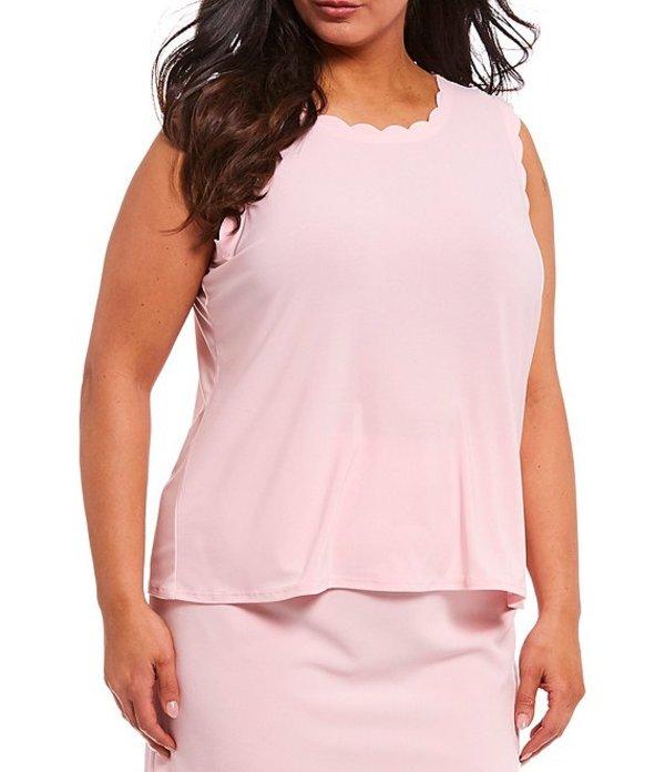 カスパール レディース タンクトップ トップス Plus Size Cap Sleeve Scalloped Trimmed Scoop Neck Knit Cami Tutu Pink