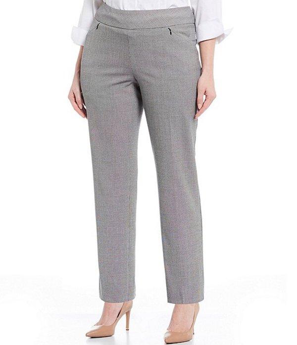 インベストメンツ レディース カジュアルパンツ ボトムス Plus Size the PARK AVE fit Pull-On Straight Leg Plaid Two-Way Stretch Pants Black/White Speckle Plaid