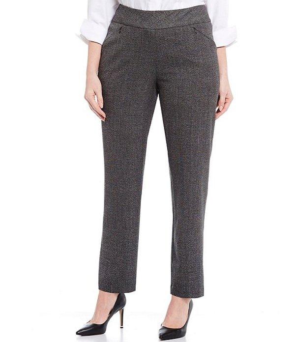 インベストメンツ レディース カジュアルパンツ ボトムス Plus Size the PARK AVE fit Pull-On Straight Leg Two Way Stretch Tweed Pants Black/White Tweed