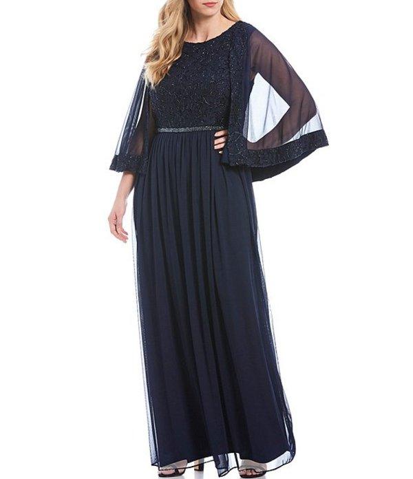ルボ レディース ワンピース トップス Plus Size Embroidered Lace Capelet Gown Navy