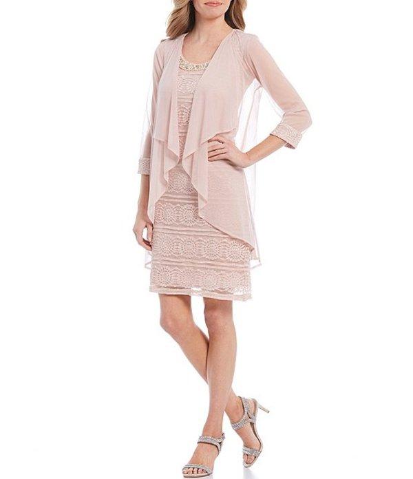 アールアンドエムリチャーズ レディース ワンピース トップス Petite Size Glitter Lace Beaded Neck Flyaway Jacket Dress Rose